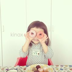 *  We love doughnuts  *  DVD返してまた借りて、帰りにオヤツのドーナツ  *  小さいサイズのポンデJrかわいい!  *  #親バカ部 #children #kids #ぱっつん #sweets #kinaxfood - @kinax- #webstagram