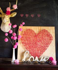 diy heart string reception decor