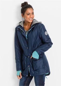 Kapucnija melegítős anyagból, kétirányú cipzárral az elején és bőségében szabályozható derékrésszel. Hüvelykujj lyukkal, applikációval az ujján és rávarrt zsebekkel, melyekbe több oldalró lehet benyúlni. Hossza a 42-es méretben kb. 86 cm. Parka, Rain Jacket, Windbreaker, Jackets, Style, Fashion, Down Jackets, Swag, Moda