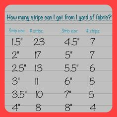 Print this ~ Strips in a yard chart