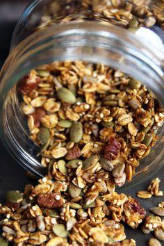 Healthy Pumpkin Granola (I would also add dried fruit - blueberries, cherries, cranberries, raisins or goji)