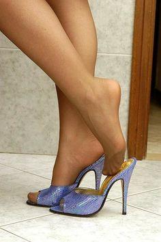 Image result for nylon feet wooden mule #womensshoeshighheels #highheelsphotography