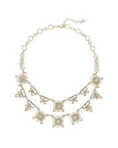 White House | Black Market Crystal Flower Statement Necklace #whbm