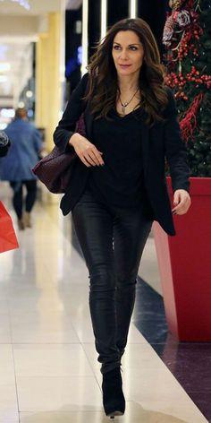 Despina Vandi - Greek Singer Learn Greek, Greek Music, Singers, Leather Pants, Characters, Street Style, Popular, Film, Jeans