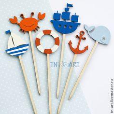 Купить Декор топперы на морскую тему - топперы, фигурки на торт, фигурки на палочках, декоративные элементы