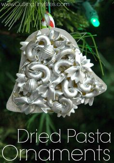 Dried Pasta Ornaments.  Kids craft for Christmas.  Beautiful!