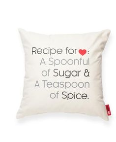 """""""Recipe For Love"""" Decorative Throw Pillow"""