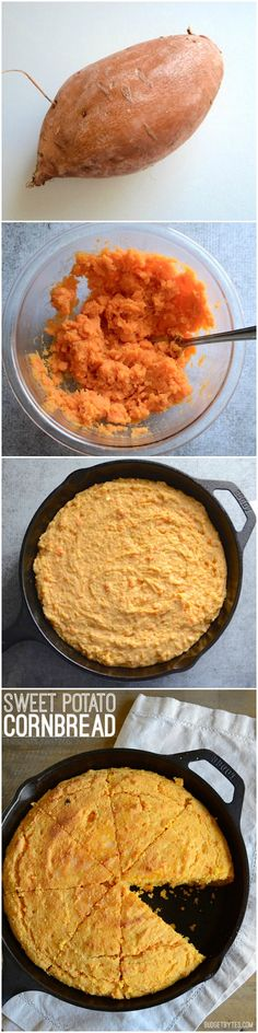 Mashed sweet potato, fragrant spices, and rich sour cream make this Sweet Potato Cornbread to die for. Serve with butter or a drizzle of honey. - Budgetbytes.com