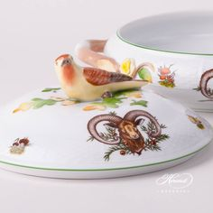 Herend fine china Vegetable Dish / Ragout Dish w. 1 pc - Vegetable Dish w. Branch Handles - vol Liter ( Elegant Table, Dinner Sets, Forest Animals, Fine China, Vegetable Dishes, Knob, Tea Cups, Stuffed Mushrooms, Hunting