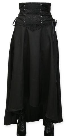 Wedding Ladies Black Solid Dress Skirt | Formal | Bridal | Prom | Tuxedo || Cinch Skirt - Black