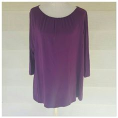 Purple bead neckline top Pretty beaded neckline top. Soft blouse.  Measures 25 bust 26 length.  Coldwater Creek size 1x 16/18. Quarter length sleeves Coldwater Creek Tops Blouses