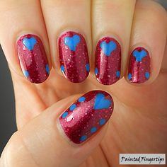 #5minutenailart – Blue Hearts | Painted Fingertips