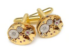 Steampunk cufflinks gold petite oval antique watch movements mens wedding accessory anniversary vintage cuff links