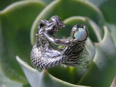 Silver Mermaid Ring with Opal by freedomjewelryusa on Etsy, $49.00