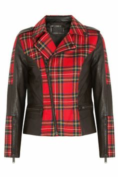 Vicious leather trimmed tartan wool karl largerfeld jacket