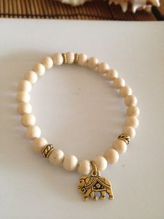 Gold Elephant Riverstone Stretchy Bracelet Womens by TheArtsyNomad
