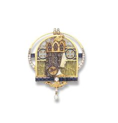A RARE IVORY, ENAMEL AND GEM-SET PENDANT BROOCH, BY LUIS MASRIERA   Designed as a green, blue, pink and white plique-à-jour enamel gothic window, centering upon a woman's profile depicting Isolde, with rose-cut diamond hair, wearing a rose-cut diamond and gold gothic crown...