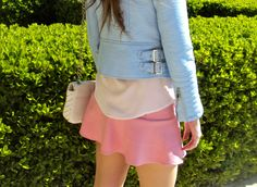 Pastel Thoughts - #blog #blogger #style #streetstyle #pastel #pink #skirt #babyblue #blue #biker #white