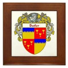 Butler Coat of Arms (Mantled) Framed Tile> Butler Coat of Arms (Mantled)> Coat of Arms and Family Crests: English, Irish