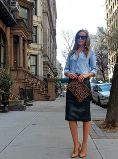 black leather pencil skirt nude heels chambray shirt clare v leopard clutch lauren slade new york fashion blogger