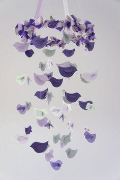 Modern Nursery Mobile- Birds in Purple, Lavender & Grey- Baby Shower Gift, Photographer Prop. $63.00, via Etsy.