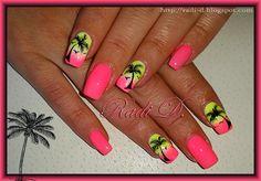 Neon gel polish and Palm trees by RadiD – Nail Art Gallery nailartgallery.na… … - Best Nail Art Cruise Nails, Vacation Nails, Hawaii Nails, Beach Nails, Hawaii Hawaii, Bright Nails, Neon Nails, Neon Gel Polish, Nail Polish