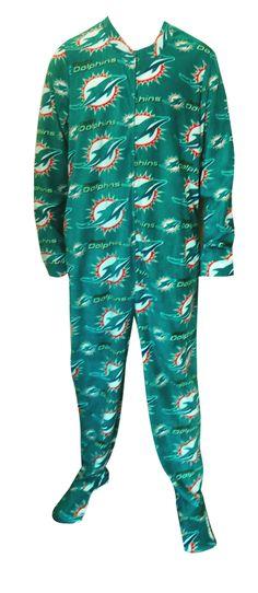 Miami Dolphins Guys Onesie Footie Pajama Show your team spirit! This cozy microfleece footie pajama for men features the classi...