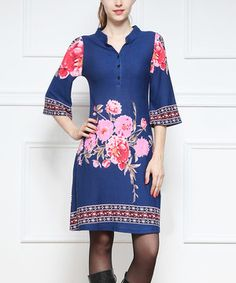 This Blue Floral Button-Up Dress by Reborn Collection is perfect! #zulilyfinds