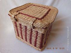 Поделка изделие Плетение Коробочка Бумага Бумага газетная Трубочки бумажные фото 5
