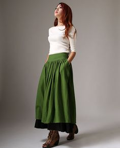 Hey, I found this really awesome Etsy listing at https://www.etsy.com/listing/195913781/long-linen-maxi-skirt-forest-green-long
