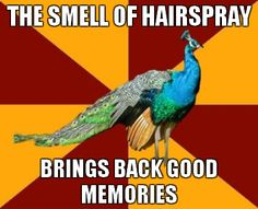 Yup. I love the smell of hairspray. Mostly because it reminds me of the theater.