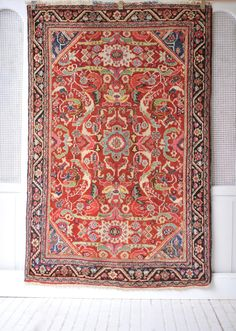 4.4 x 6.7 Mahal Antique 1950's Persian Rug FREE