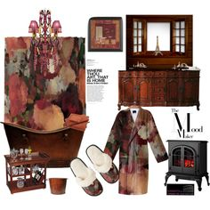 """""""Autumn Mosaics Mood Maker Bathroom"""" by Khoncepts matching shower curtain, bathroom, and fuzzy slippers!"""