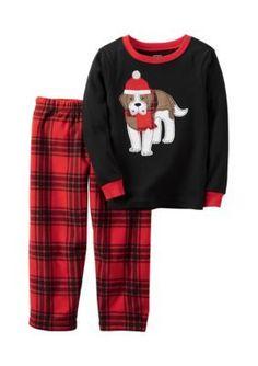 Carters  2-Piece Christmas Puppy Fleece Pajamas Toddler Boys