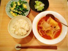 豚キムチスープ ニラ玉 玄米 セロリのお漬物