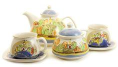 The blue hills ceramic tea set,$90.00,  Catalog of St. Elisabeth Convent. http://catalog.obitel-minsk.com/gifts/ceramics.html #CatalogOfGoodDeed #handmade #ceramic #pottery #dishes #tea #sweethome #art #inspiration #gift #present #buy #order #online #handpainted