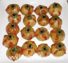 Serve appet-EYE-sers (eye shaped snacks) this Halloween.  For those with patience and time......