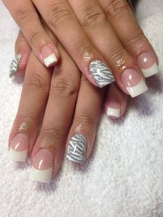 Nails - white with silver accent
