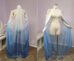 ~Blue/White Ombre Elven Cape~ The perfect addition to your gown to transport you into the fantasy realm! Sweeping silk chiffon falls from the beaded