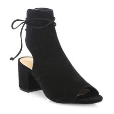 Schutz Binalia Cutout Suede Block-Heel Booties ($135) ❤ liked on Polyvore featuring shoes, boots, ankle booties, ankle-boots, black, cutout booties, black ankle boots, cut out booties, black suede booties and ankle boots