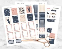 """""""Oh Deer"""" Printable Weekly Kit for the vertical Erin Condren Life Planner  Despite not being traditional fall colors, I'm so in love with this adorable kit! The geometric designs and cute deer are perfect for autumn. Navy, peach, and cream will help to break up all of the orange kits for fall and will look beautiful in any planner!  This is a digital file, you will not receive any physical stickers. As soon as purchase is confirmed, you are able to download the files and print them as many…"""