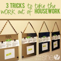 3 TRICKS to take the WORK out of housework! Great ideas I'm definitely going to try! #chores #organization #howdoesshe