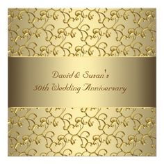 Custom Gold Swirls Gold Wedding Anniversary Party Personalized Invitation created by InvitationCentral. This invitation design is available on many paper types and is completely custom printed. 50th Wedding Anniversary Invitations, Golden Wedding Anniversary, Elegant Wedding Invitations, Anniversary Parties, 50th Anniversary, Gold Wedding Stationery, Swirls, Party Ideas, Gift Ideas