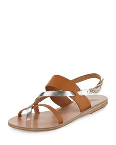 Alethea+Multi-Strap+Leather+Flat+Sandal,+Natural/Silver+by+Ancient+Greek+Sandals+at+Bergdorf+Goodman.