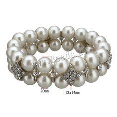 Cristal pulsera de perlas, Perlas de vidrio, con aleación de zinc, chapado en color de platina, con diamantes de imitación, 20x10mm, 13x14x6mm, longitud:aproximado 7 Inch, 5Strandsfilamento/Grupo, Vendido por Grupo,Abalorios de joyería por mayor de China