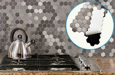 Aspect Honeycomb peel-and-stick aluminum tiles by ACP go up right over an existing backsplash and require no grout for easy DIY installation. thisoldhouse.com
