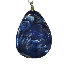 Snail painted necklace. Lacquer miniature on stones. Blue agate necklace #agatependant #snail #snailnecklace #paintedstones #russianlacquer