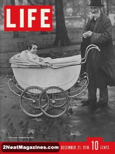 Life Magazine December 1936 : Cover - Lord Beaverbrook's granddaughter in fancy baby carriage with old gentleman friend. Life Magazine, Life Cover, Grandparents Day Gifts, Vintage Magazines, Vintage Ads, What Is Life About, Photojournalism, Memoirs, Vivid Colors