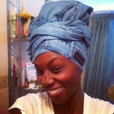 Choose a pair of denim jeans as a head wrap today! Check the video tutorial here: facebook.com/iStyleiSmile