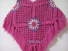 """Lunch Lady Seretta: """"This is my favorite poncho"""" Crochet Poncho, Knit Crochet, Kids Poncho, Monochrome Color, Crochet Gifts, Girls Accessories, Crochet For Kids, Hot Pink, Best Gifts"""